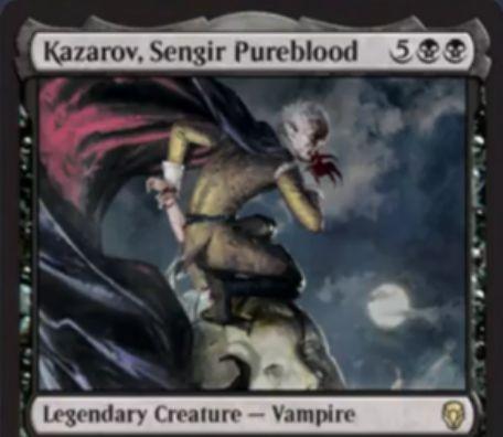 【ドミナリア】センギアの純血、カザロフ(Kazarov, Sengir Pureblood)が公開!黒黒5で4/4「飛行」&赤3でクリーチャー1体に2点ダメージ&相手のクリーチャーにダメージが与えられるたびに+1/+1カウンターを獲得する能力を持ったレアの伝説吸血鬼!
