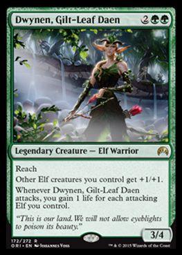 緑レア生物「Dwynen, Gilt-Leaf Daen 」(マジック・オリジン)