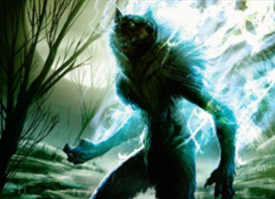 緑レアの狼戦士「Silverfur Partisan」(イニストラードを覆う影)