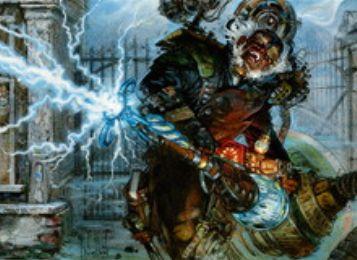 異界月にコモン収録の赤インスタント「流電砲撃」が公開!クリーチャーに墓地の「流電砲撃」の枚数プラス2点のダメージを飛ばす火力!