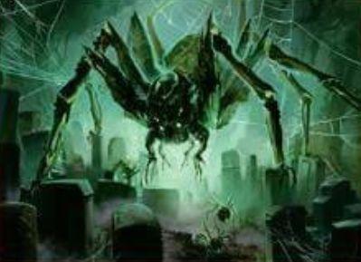 異界月に収録の伝説神話蜘蛛「Ishkanah, Grafwidow」が公開!到達&昂揚状態でCIPすると3体の蜘蛛トークン生産&蜘蛛の数だけライフロスさせる起動型能力!