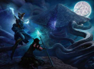 異界月収録の青レアオーラ「Imprisoned in the Moon」が公開!クリーチャーか土地かプレインズウォーカーにエンチャントし、タイプや能力を消失させて無色マナが産めるだけの土地へと変える!
