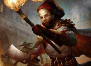 MTG「王位争奪」収録の赤コモン人間「抗議代理人」が公開!2マナ2/1「威迫」&新能力「会戦」により、戦闘で攻撃した対戦相手の数だけPTが増強!