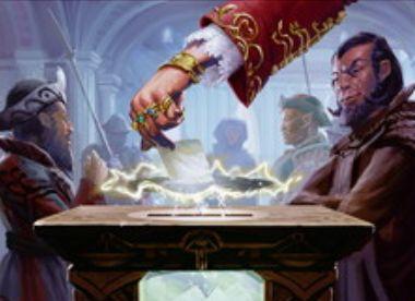 青アンコモンのインスタント「選択の幻影」が「王位争奪」に収録!1マナでドローしつつ全プレイヤーの「投票」を選択可能に!