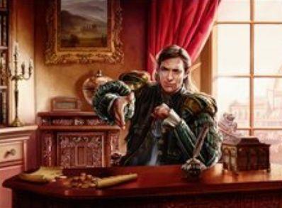 スゥルタイカラーの伝説神話エルフ「トレストの使者、レオヴォルド(王位争奪)」が公開!対戦相手のターン中の2枚以上のドローを不可能に&自パーマネントが相手の呪文や能力に対象になるたび1ドロー!3マナ伝説のためタイニーリーダーズでの使用も!