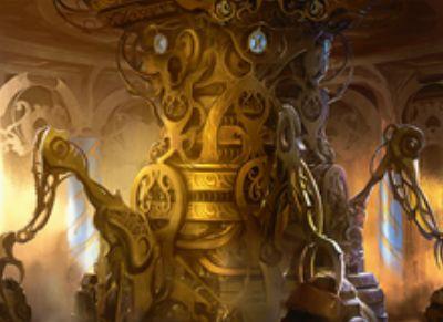 カラデシュ収録の伝説神話アーティファクト「霊気池の驚異」が公開!自軍パーマネントが墓地に置かれるたびに「エネルギー」を貯め、6個の「エネルギー」を使うことでライブラリートップ6枚の中から1枚をマナコスト不要で唱える!