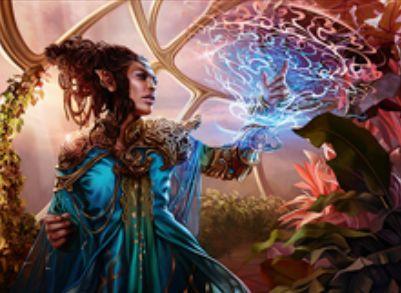 伝説神話のドルイド「Rashmi, Eternities Crafter(カラデシュ)」が公開!毎ターン最初の呪文を唱えるたび、ライブラリートップがその呪文のマナコスト以下の非土地カードならばコスト不要でプレイ可能に!