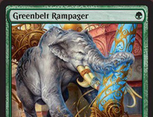 霊気紛争に収録のレア象「Greenbelt Rampager」が公開!1マナ3/4のハイスペックながら、CIPで2個のEカウンターを要求!支払えないなら手札に戻ってEカウンターを1個提供!