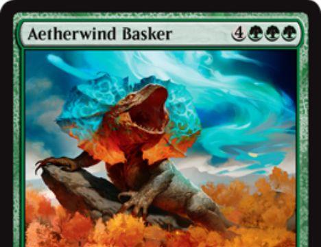 霊気紛争に収録の神話トカゲ「Aetherwind Basker」が公開!7マナ7/7トランプル&CIPやアタック時にEカウンター獲得&Eカウンターを支払ってP/Tを増強!
