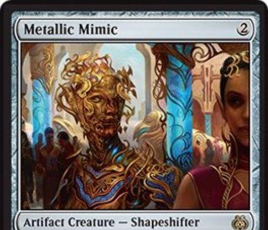 多相の戦士のアーティファクト・クリーチャー「Metallic Mimic」が霊気紛争にレア収録!CIPでクリーチャータイプを宣言し、自身がそのタイプになるとともに後続の同タイプクリーチャーに+1/+1カウンターを付与!