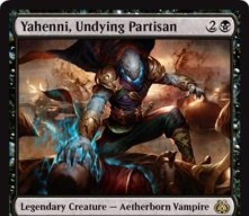 霊気紛争に収録される伝説の霊基体「Yahenni, Undying Partisan」が公開!3マナ2/2「速攻」&相手のクリーチャーが死亡するたびに+1/+1カウンターを獲得&自軍クリーチャーを生贄に捧げて「破壊不能」を獲得!