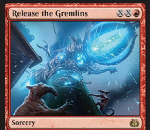 霊気紛争に収録の赤レアソーサリー「Release the Gremlins」が公開!赤XXで唱えてX個のアーティファクトを破壊し、X個の2/2グレムリン・トークンを生成!