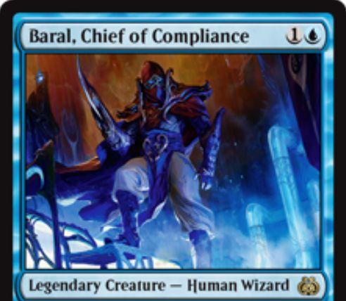 青の伝説のクリーチャー「Baral, Chief of Compliance(霊気紛争)」が公開!インスタントとソーサリーの不特定コストを軽減!相手の呪文を打ち消すたびにルーター効果も発動!