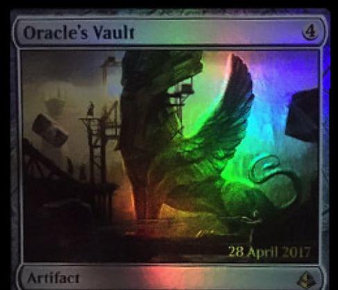 アモンケット「Oracle's Vault」が非公式スポイラーに掲載!不特定2マナ&タップでライブラリートップをプレイ可能状態に!効果を使うたびにカウンターが貯まり、3個以上のカウンターが貯まればタップだけでライブラリートップを無料プレイ!