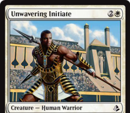 白コモンの戦士「Unwavering Initiate(アモンケット)」が公開!3マナ3/2「警戒」&5マナで「不朽」も可能!
