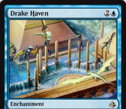 青レアのエンチャント「Drake Haven(アモンケット)」が公開!サイクリングするか手札を捨てるたびに不特定1マナを支払えば2/2「飛行」のトークンを生産可能!