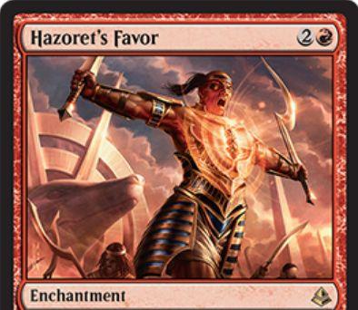アモンケット収録の赤レアエンチャント「Hazoret's Favor」が公開!戦闘開始時にクリーチャー1体のパワーを2増強して速攻付与!強化したクリーチャーは次の終了ステップで破壊!