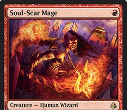 赤レアのウィザード「Soul-Scar Mage(アモンケット)」が公開!1マナ1/2「果敢」&自分の発生源がクリーチャーに戦闘以外のダメージを与える場合、ダメージを-1/-1カウンターへ変換する!