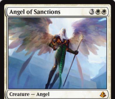 アモンケット収録の白神話天使「Angel of Sanctions」が公開!5マナ3/4「飛行」&CIPで非土地のパーマネントを一時追放&「不朽」によりゾンビ化して復活!