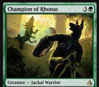 緑レアのジャッカル戦士「Champion of Rhonas」が公開!4マナ3/3&督励して手札のクリーチャーを戦場に出す!