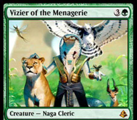 アモンケット収録の緑神話ナーガ「Vizier of the Menagerie」が公開!3マナ3/4でライブラリートップを常時閲覧可能に!また、ライブラリートップがクリーチャーなら唱えてもよい!さらに、クリーチャー呪文は色拘束不問でプレイ可能に!