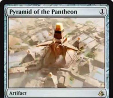 レアアーティファクト「Pyramid of the Pantheon(アモンケット)」が公開!1マナで設置し、不特定2マナを好きな色マナに変換しつつ石材カウンターを貯める!石材カウンターが3個以上貯まれば、タップで好きな色マナを生産!