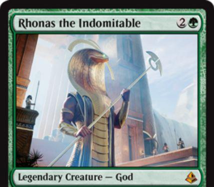 アモンケットの緑神話ゴッド「Rhonas the Indomitable」が公開!3マナ5/5「接死」「破壊不能」だが、他にパワー4以上のクリーチャーがいなければ攻守不可!クリーチャーのパワーを2強化しつつトランプルを付与する起動型能力も持つロナス神!
