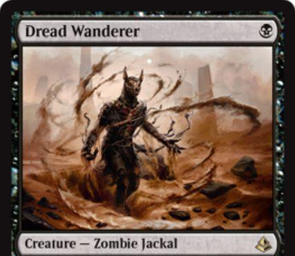 黒レアのゾンビジャッカル「Dread Wanderer」が公開!1マナ2/1でタップイン!また、手札が1枚以下なら3マナで墓地から自己リアニメイト可能!