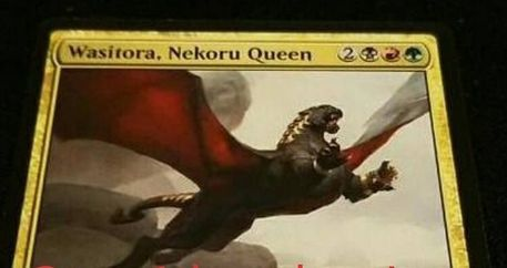 ジャンド色の猫ドラゴン「Wasitora, Nekoru Queen(統率者2017)」が非公式スポイラーで公開!5マナ5/4「飛行」「トランプル」に加え、プレイヤーに戦闘ダメージを与えるたびに相手にクリーチャーの生贄を要求!できなければ3/3「飛行」の猫ドラゴン・トークンを獲得!
