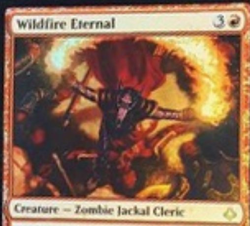 破滅の刻の赤レア「Wildfire Eternal」が非公式スポイラーに掲載!4マナ1/4でブロックされると対戦相手は4ライフロス!ブロックされなければ、手札からインスタントかソーサリーを1枚無料プレイ可能に!