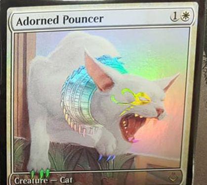破滅の刻のレア白猫「Adorned Pouncer」が非公式スポイラーに掲載!2マナ1/1「二段攻撃」に加え、詳細不明な能力「Eternalize」を持つ!