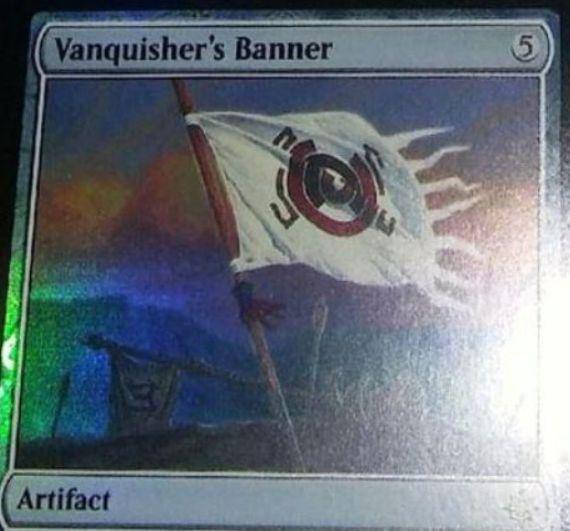 イクサラン「Vanquisher's Banner」が非公式スポイラーに掲載!5マナで設置し、選んだタイプのクリーチャーのPTを増強!また、選んだタイプのクリーチャーを唱えるたびに1枚ドロー!