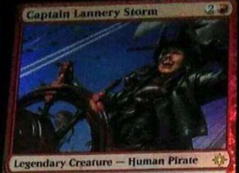 赤レアの海賊「Captain Lannery Storm」の情報がイクサランの非公式スポイラーに掲載!攻撃時に「タップ&生贄で好きな色マナを生産できるアーティファクト・トークン」を生産!