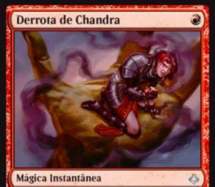 破滅の刻「チャンドラの敗北」が公開!赤マナ1点で赤のクリーチャーか赤のプレインズウォーカーに5点ダメージを与えるインスタント!対象がチャンドラ・プレインズウォーカーなら手札を1枚捨ててドローするルーター効果も使用可能に!