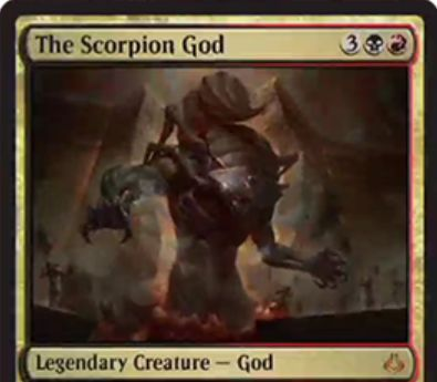 黒赤の神話ゴッド「The Scorpion God(破滅の刻)」が公開!5マナ6/5&-1/-1カウンターを持ったクリーチャーの死亡時にドロー&黒赤1で他のクリーチャーに-1/-1カウンターを置く&死亡したら次の終了ステップ開始時に手札に戻る!