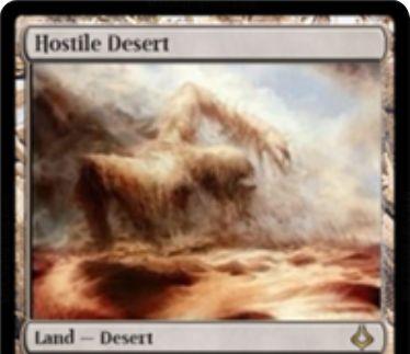 破滅の刻に収録のレア砂漠土地「Hostile Desert」が公開!2マナ&墓地の土地を1枚追放してターン終了時まで3/4のエレメンタルに!