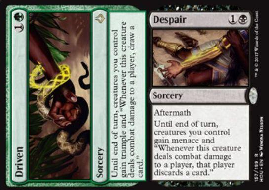 緑と黒の分割呪文「Driven/Despair」が公開!緑のソーサリーは2マナで全クリーチャーにトランプルとプレイヤーにダメージを通した際のドロー能力を付与!黒の余波ソーサリーは2マナで全クリーチャーに威迫とプレイヤーにダメージを通した際のハンデス能力を付与!
