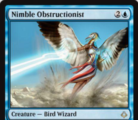 MTG「破滅の刻」に収録される青レアの鳥ウィザードが公開!3マナ3/1「飛行」「瞬速」!青2でのサイクリング時に「もみ消し」効果を使用可能!