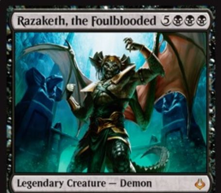 黒の伝説神話デーモン「ラザケシュ(破滅の刻)」が公開!8マナ8/8飛行トランプルに加え、2点ライフとクリーチャーの生贄をコストにライブラリーから好きなカードを1枚サーチ!