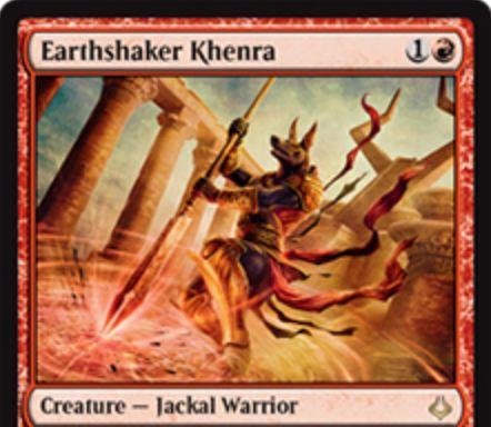 赤レアのケンラ「Earthshaker Khenra(破滅の刻)」が公開!2マナ2/1速攻に加え、CIPでこのカードよりパワーが低いクリーチャー1体をブロック不可に!さらに赤赤4での「永遠」も持つジャッカル戦士!