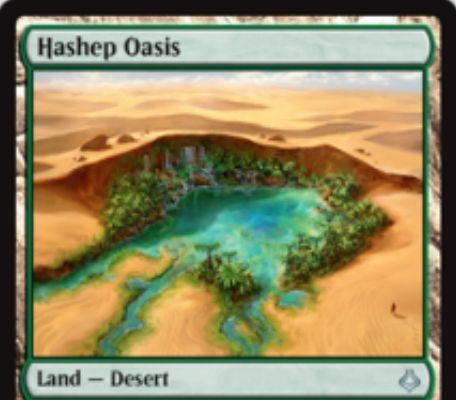MTG「破滅の刻」収録のアンコモン有色砂漠土地サイクルが公開!1点ライフを支払えばタップで色マナ生産&コストを支払ってタップしつつ砂漠を生贄に捧げて対応する効果を発動!