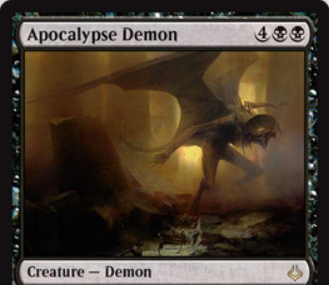 黒レアのデーモン「Apocalypse Demon(破滅の刻)」が公開!黒黒4で自墓地のカードと同数のP/Tを持つ飛行持ち!自アップキープにクリーチャーを生贄にしないとタップされるデメリットも!