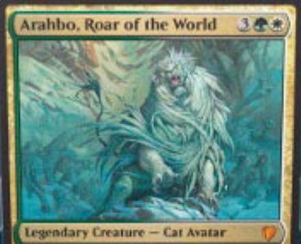 統率者2017「Arahbo, Roar of the World」が非公式スポイラーに掲載!緑白で伝説の猫アバターで、統率者領域か戦場にいる戦闘時に自軍の猫を強化!