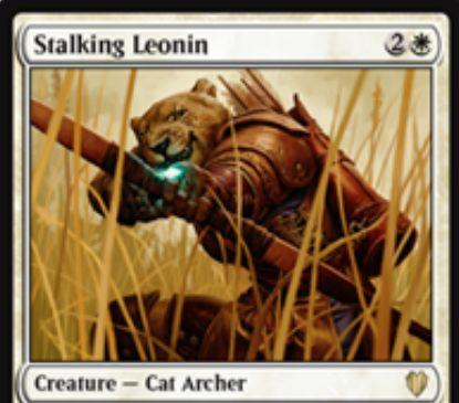 白猫射手「Stalking Leonin」が統率者2017に収録!CIPで秘密裏に対戦相手1人を選び、そのプレイヤー名を公開することであなたに攻撃しているそのプレイヤーの攻撃クリーチャーを追放する(一度限り)!