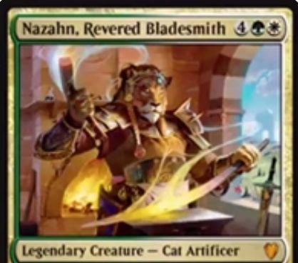 白緑の伝説猫工匠「Nazahn, Revered Bladesmith(統率者2017)」が公開!CIPで装備品をサーチし、それが「Hammer of Nazahn」ならばそのまま戦場へ!装備クリーチャーの攻撃時に防御側プレイヤーのクリーチャーをタップする能力も!