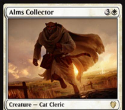 対戦相手の「2枚以上のドロー」を「あなたも私も1ドロー」に変える瞬速持ち白猫「Alms Collector」が統率者2017に収録!