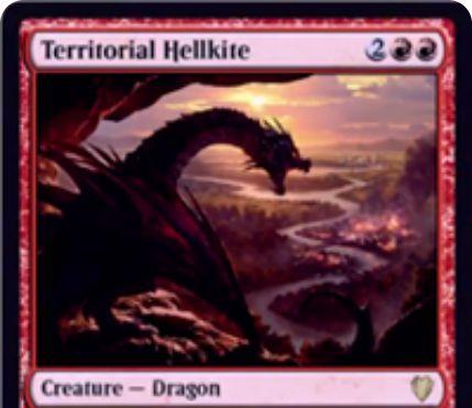 赤のドラゴン「Territorial Hellkite」が統率者2017に収録!4マナ6/5「飛行」「速攻」だが、毎ターン違う対戦相手を選んで攻撃するデメリットを持つ!選べなければ自身をタップ!