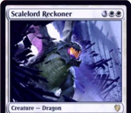 白のドラゴン「Scalelord Reckoner(統率者2017)」が公開!5マナ4/4「飛行」に加え、自軍ドラゴンが対戦相手の呪文や能力の対象になるたびそのプレイヤーの非土地パーマネントを破壊!