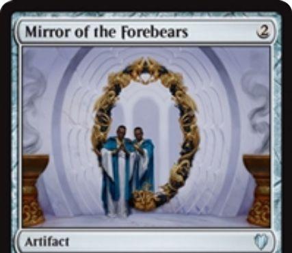 統率者2017「Mirror of the Forebears」が公開!2マナで設置しタイプを指定!1マナを支払うと自軍の指定タイプのクリーチャーをターン終了時までコピー!