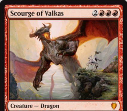基本セット2014「ヴァルカスの災い魔」が統率者2017に再録!5マナ4/4「飛行」&火吹き能力&このカードか他のドラゴンが戦場に出るたび、自軍ドラゴンの数だけクリーチャーかプレイヤーにダメージを飛ばす!